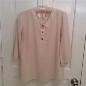 Anthropologie Lilli's Closet Cream Top 3/4 Sleeves